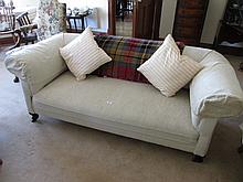 Edwardian Cream Upholstered Roll Back Settee on