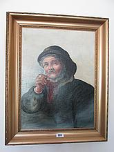 Victorian School Gilt Framed Oil Painting Man of