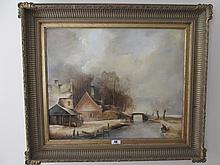 Winter Scene Signed J van Derliet Gilt Framed Oil
