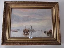 Edmond Murphy Harbour Scene Dated 1884 14 Inches