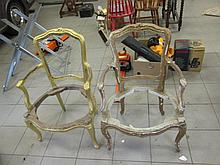 Pair of Antique French Fauteils For Restoration