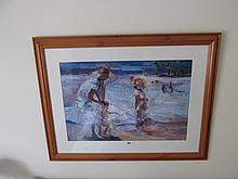 Modern Fine Art Print Seaside Scene Mother and