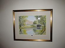 F Ball Royal Canal Dublin Watercolour Gilt Framed