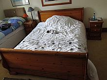 Modern Pine Double Sleigh Bed with Mattress 6ft
