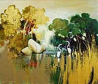 Ken Taber (b.1942) Lagoon Oil on board Signed