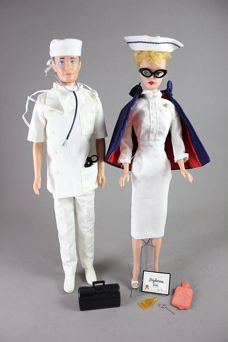 (2) BARBIES - KEN IN TAGGED DOCTOR OUTFIT AND #6 PONYTAIL LIN #991 REGISTERED NURSE