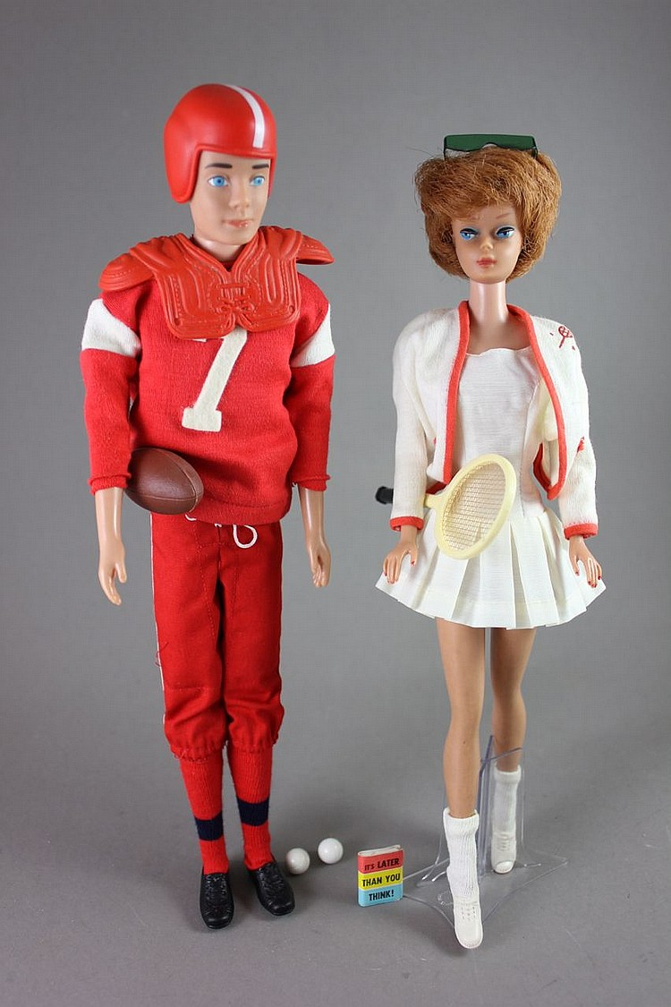 (2) BARBIES - TITIAN BUBBLE CUT IN #941 TENNIS ANYONE? KEN IN #799 TOUCHDOWN