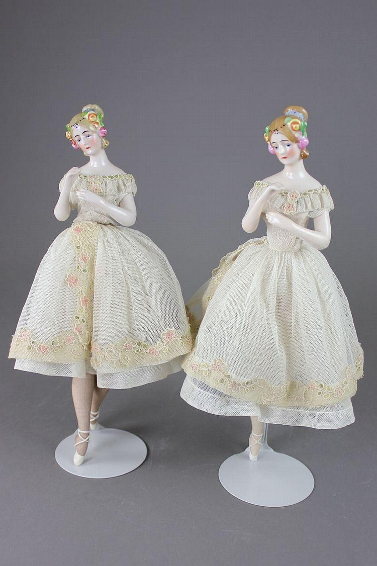 PAIR PINK TINT CHINA HALF-DOLLS WITH ARMS AWAY, FANNY ELSSLER BALLERINAS