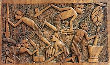 A SMALL LIGHT WOOD FRIEZE OF VILLAGE LIFE, Yau,