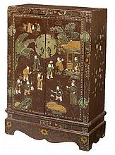 A CHINESE TWO-DOOR RED LACQUERED SIDE CUPBOARD,