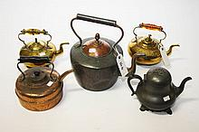 A LARGE OLD COPPER KETTLE, a small copper kettle,