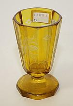 A BOHEMIAN AMBER GLASS VASE, 19th century, of
