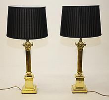 A PAIR OF MODERN BRASS TABLE LAMPS, each in the