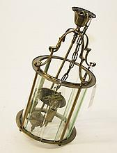 A MODERN CYLINDRICAL METAL HALL LANTERN, in the