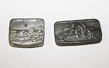 A RECTANGULAR BOW FRONTED PEWTER SNUFF BOX, by J.