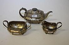 A THREE PIECE SILVER TEA SERVICE, George IV London