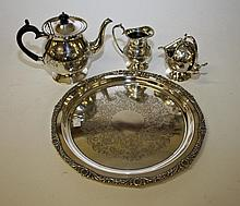 A MATCHED 5 PIECE SILVER PLATED TEA SERVICE,