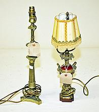 A BRASS TABLE LAMP, in the Regency style, with