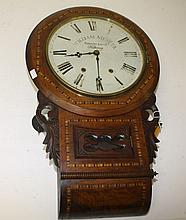 AN 19TH CENTURY PARQUETRY INLAID DROP DIAL WALL