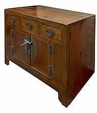 A 19TH CENTURY CHINESE CHEST, probably elm and