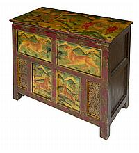 A DECORATED TIBETAN CUPBOARD, decorated with