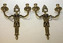 A PAIR OF ATTRACTIVE HEAVY CAST BRASS TWO BRANCH