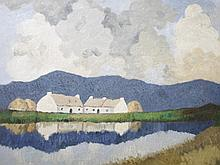 AFTER PAUL HENRY, Thatched Cottages by a Lake,