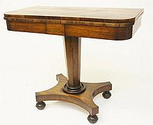 A WILLIAM IV PERIOD FOLD OVER ROSEWOOD CARD TABLE,