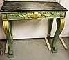 A GREEN PAINTED AND PARCEL GILT CONSOLE TABLE,