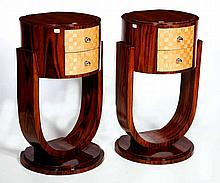 A PAIR OF WALNUT BEDSIDE PEDESTALS OR TABLES, Art