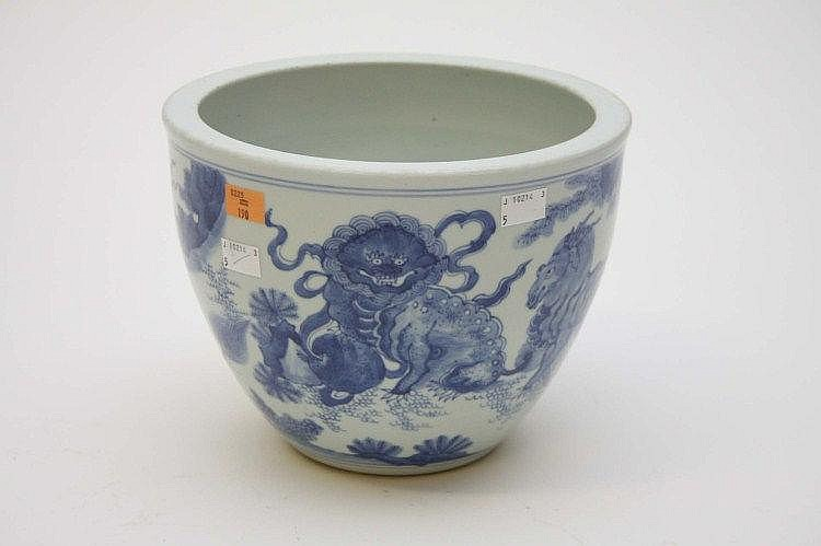 A CHINESE BLUE AND WHITE JARDINIERE, decorated