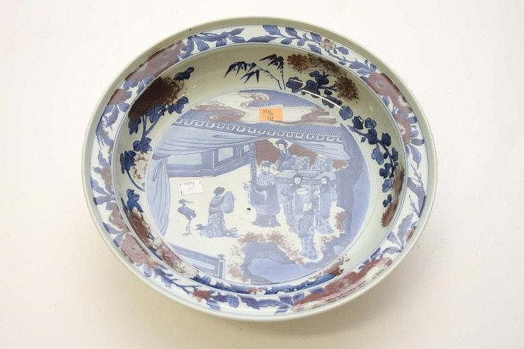 A CHINESE IMARI BOWL, decorated in blue, white and