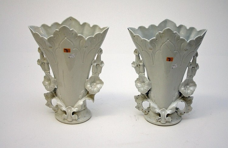 A PAIR OF FRENCH PORCELAIN FLOWER FORM VASES, late