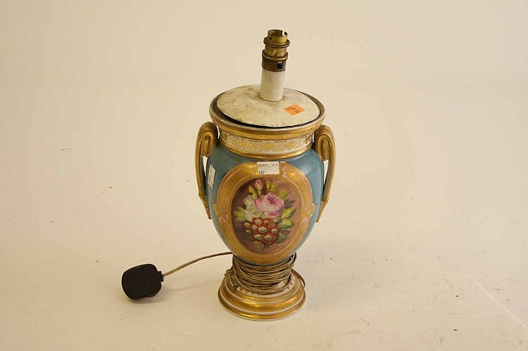 A FRENCH PORCELAIN VASE, 19th century, decorated