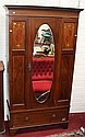 AN EDWARDIAN INLAID MAHOGANY SINGLE DOOR WARDROBE,