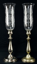 Pair of Christofle Hurricane Candle Lamps