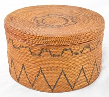 American Indian Coiled Lidded Basket