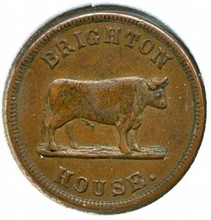 Civil War Token Ohio Brighton House _I promise to pay 5 cents_ Lew Boman, has standing bull R-7 OH165R