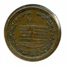 Civil War Token 1863 Willard & Jackson Oyster House 532 Broadway NY 630 CI _awesome strike_