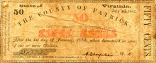 1862 The County of Patrick Virginia 50 cent Note