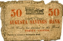 1861 50 Cent Augusta Savings Bank Currency Note