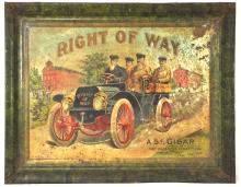 Right of Way Cigar Self Framed Tin Sign