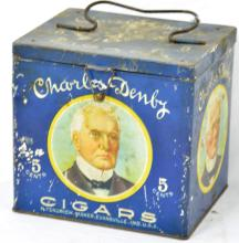 Charles Denby Cigars Lunch Pail Tin