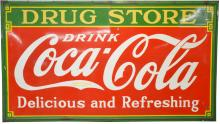 1933 Coca-Cola Drugstore Porcelain Marquee Sign