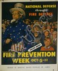WWII Uncle Sam Fire Prevention Week poster corner