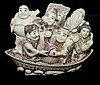 Signed Japanese carved ivory Netsuke- six figures