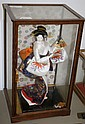 Japanese dancing Geisha comp. doll in case, ht.