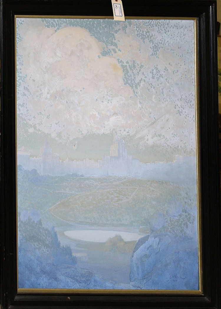 1931 H.W. Wack signed oil on canvas city scape