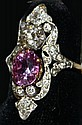 Tiffany & Co 18 kt y.g. oval ~ 1.5 pink sapphire & rd .75 ct ladies ring signed