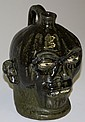 20th c Outsider Art Lanier Meaders signed face jug ht 9.5